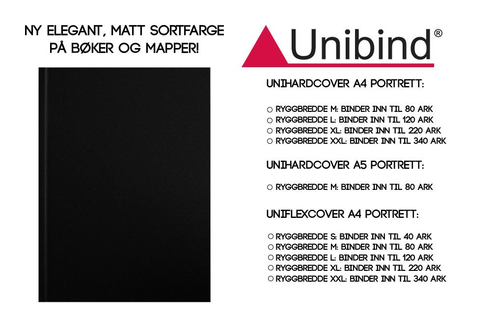 UniHardcover Sort Innbindingsbok